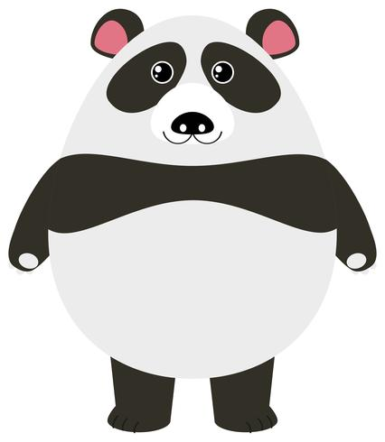 Gullig panda på vit bakgrund