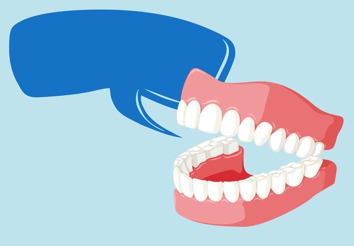 Plantilla de burbujas de discurso con dientes limpios