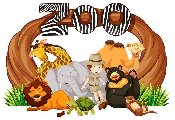 Guardián y animales salvajes en la entrada del zoológico.
