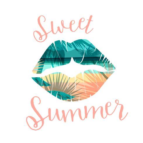 Estampado de verano en playa tropical con eslogan para camisetas, carteles, tarjetas y otros usos.