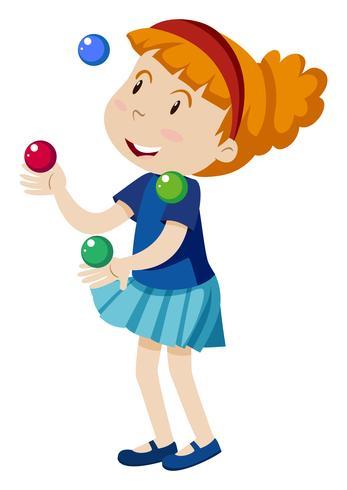 Een meisje jongleren met op witte achtergrond vector