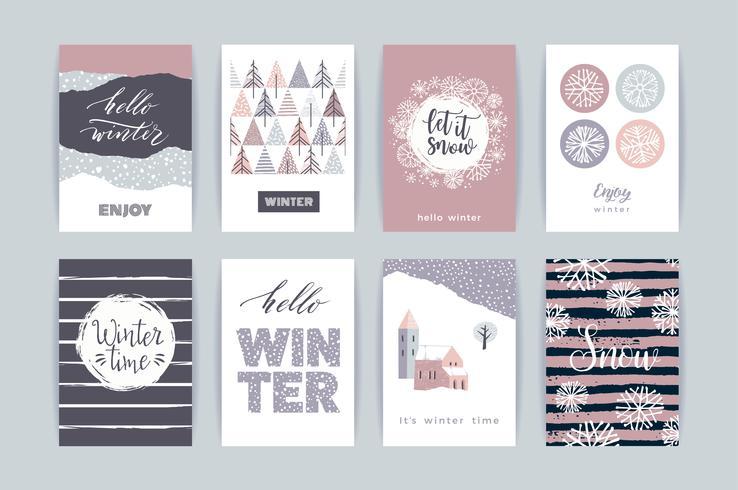 Set med konstnärliga kreativa vinterkort.