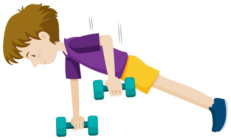 A young man weight training