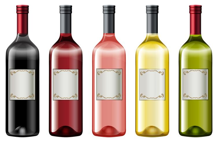 Diferentes colores de botellas de vino.
