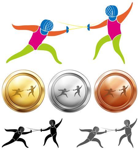 Icono de esgrima y medallas deportivas.