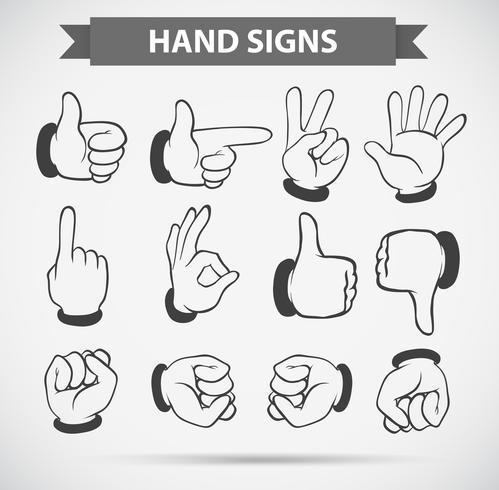 Gestos de mão diferentes no fundo branco