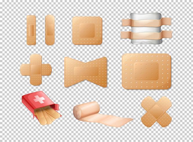 Verschillende ontwerpen van verbanden op transparante achtergrond