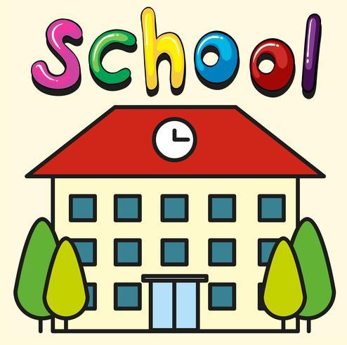 Bâtiment scolaire avec horloge sur le toit
