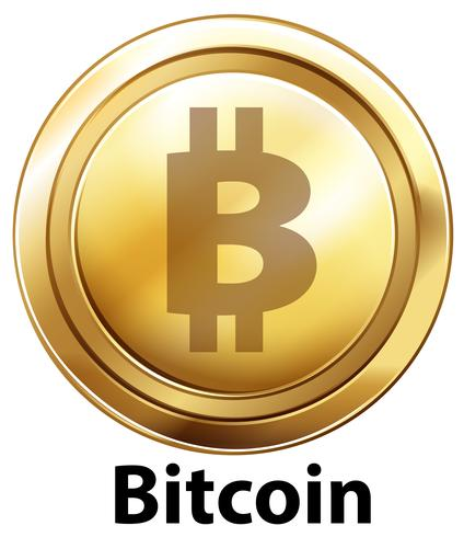 Bitcoin com moedas de ouro sobre fundo branco