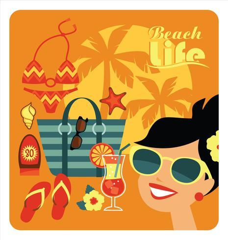 Ilustración vectorial de vacaciones en la playa tradicional.
