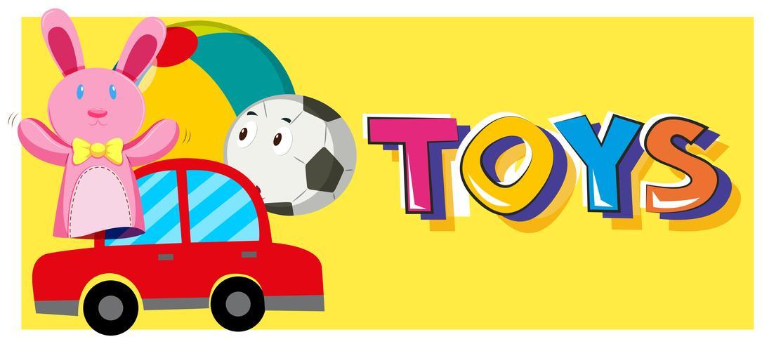 Juguetes de palabras y diferentes tipos de juguetes.