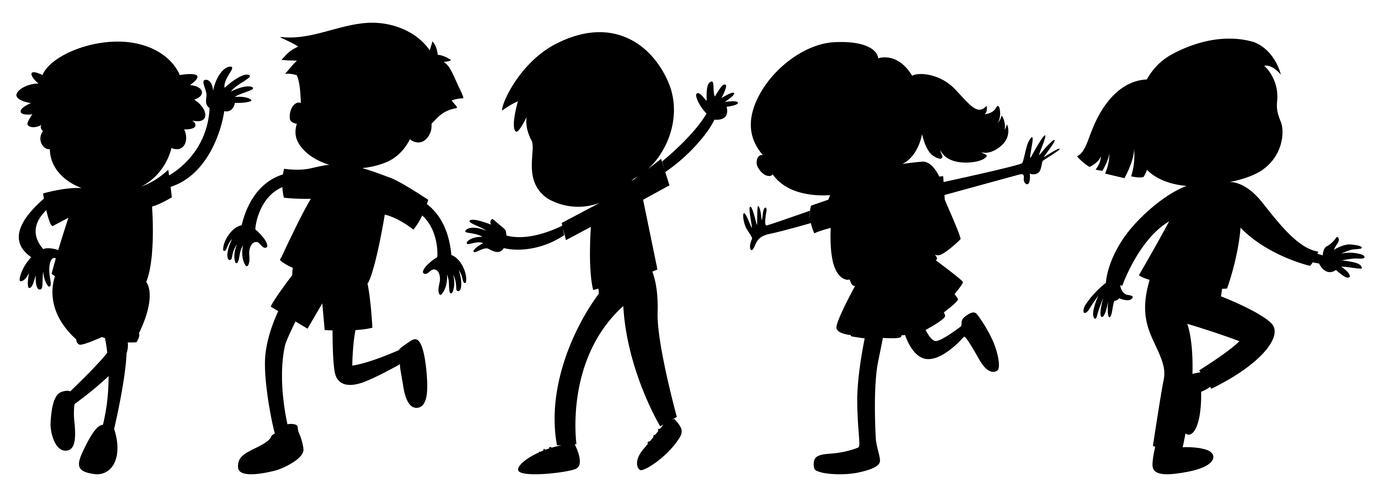 Crianças de silhueta em posições diferentes