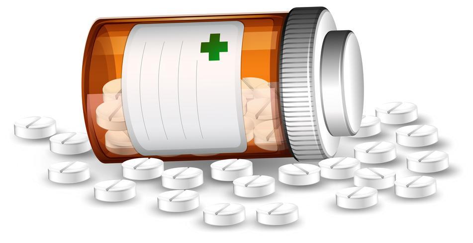 Container en medicijnen pillen