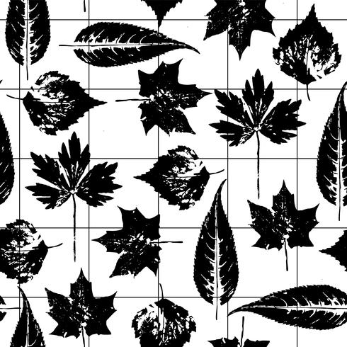 Abstract autumn seamless pattern with leaves.