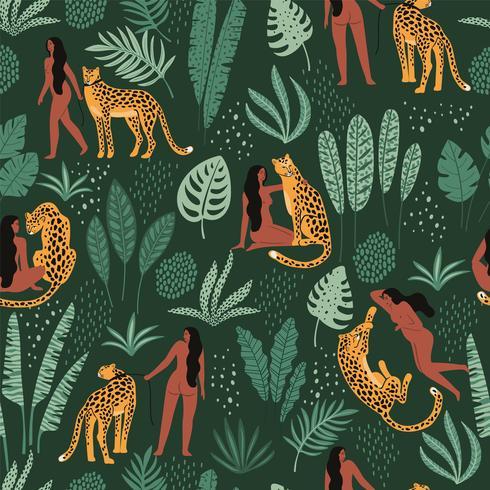 Padrão sem emenda de vetor com mulheres, leopardos e folhas tropicais.