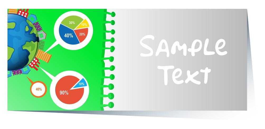 Businesscard con diseño infográfico de piecharts en el fondo