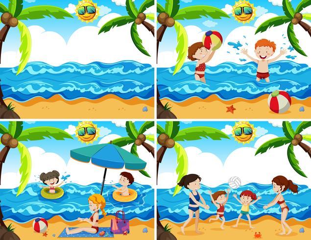 Um conjunto de família na praia