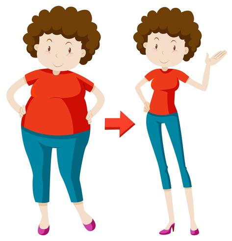 A Fat Woman Losing Weight vector