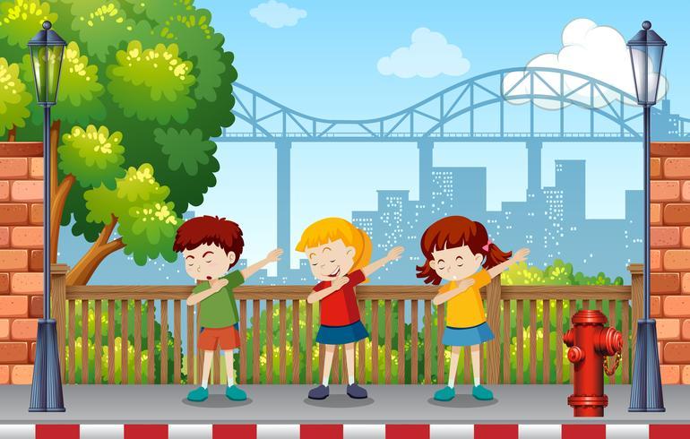 Crianças, dançar, parque