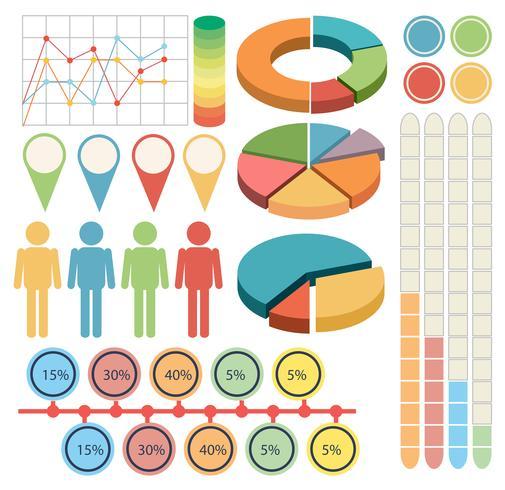Infográfico com pessoas e gráficos em quatro cores