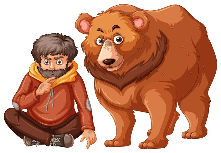 Homem e urso no fundo branco