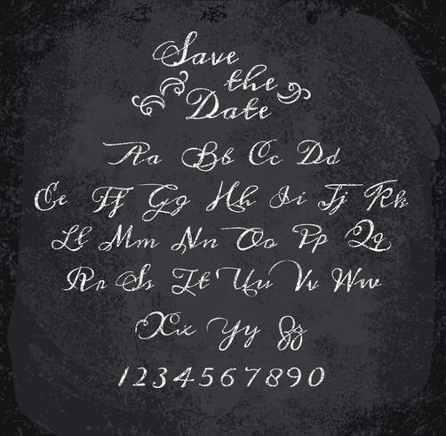 Ilustración del vector del alfabeto marcado con tiza.
