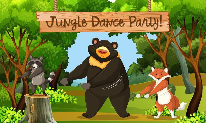Cena do parque de dança da selva