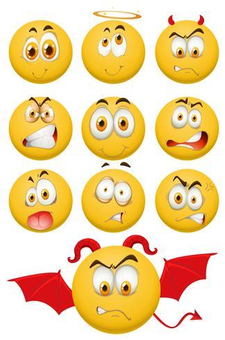 Bolas amarelas com expressões faciais