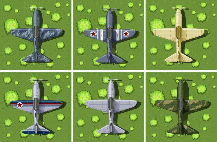 Sei disegni di un aereo militare
