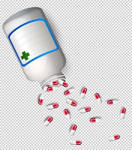 Um frasco de remédio em fundo transparente