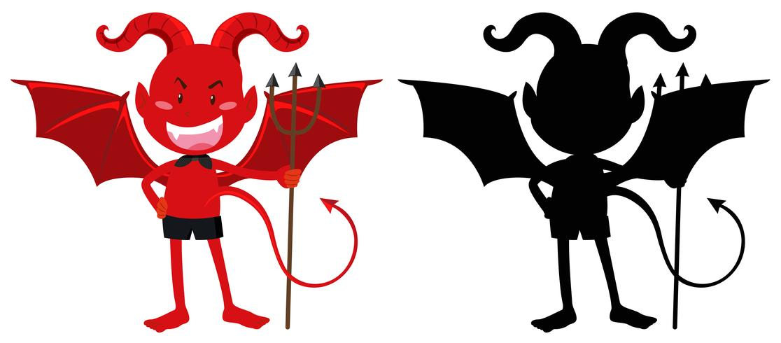 Red devil and its silhouette
