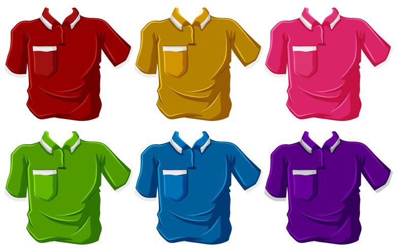 Camisas em seis cores diferentes
