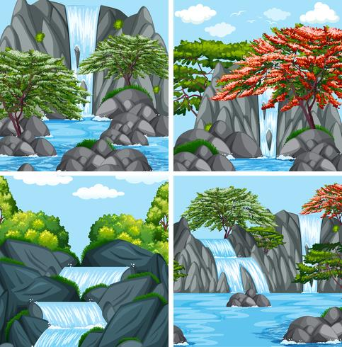 A set of beautiful waterfall - Download Free Vector Art, Stock Graphics & Images