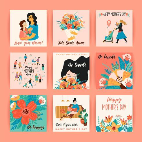 Feliz día de la madre. Plantillas vectoriales para tarjetas, carteles, pancartas y otros usos.