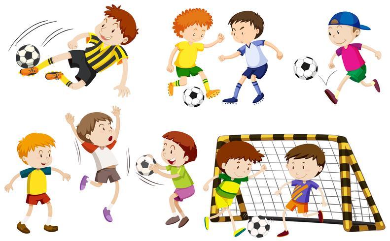 Muitos meninos jogando futebol