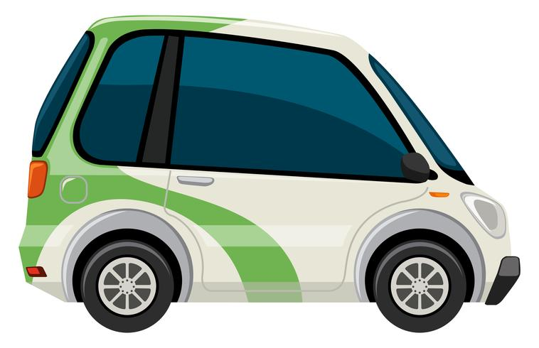 An electric car on the white background