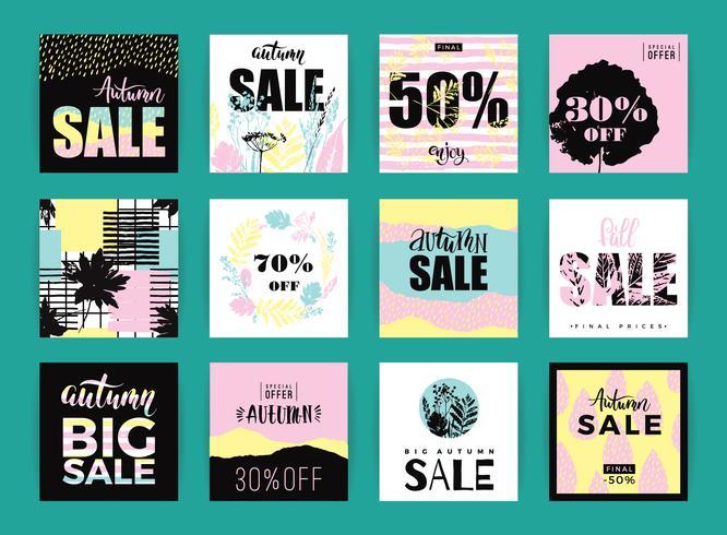 Sats av konstnärliga kreativa höstförsäljningskort.