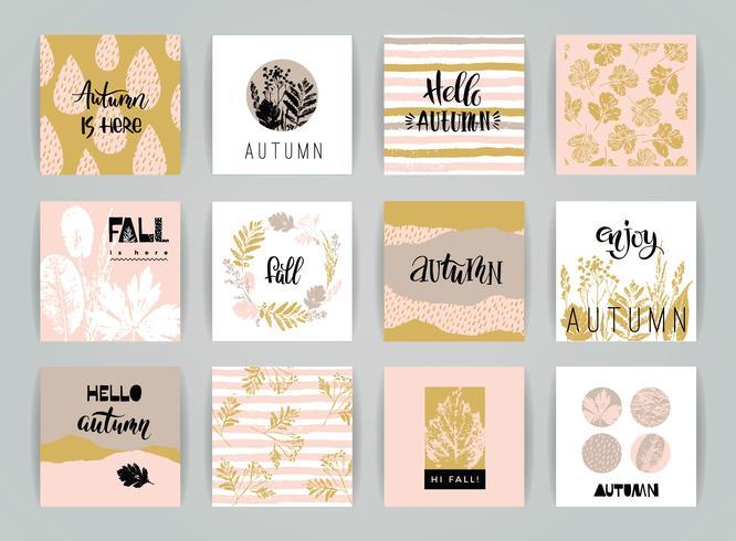 Conjunto de tarjetas de otoño creativas artísticas. vector