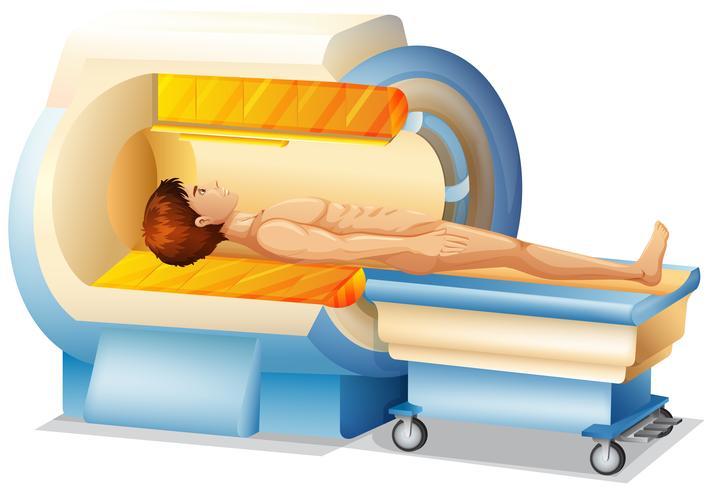 Um homem no scanner de ressonância magnética