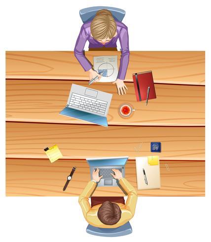 Draufsicht auf Arbeitstisch