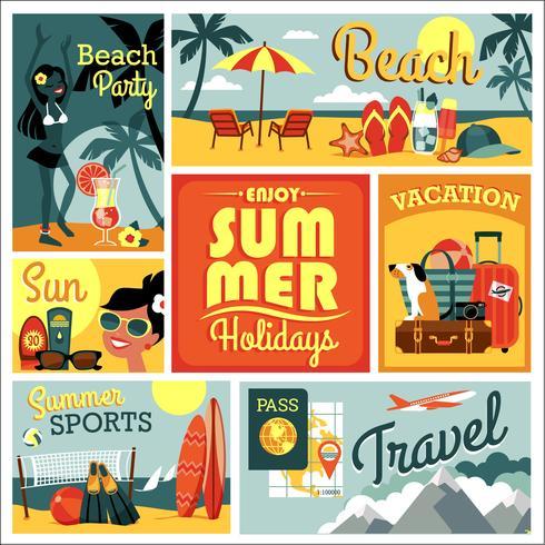 Ilustración de vector de vacaciones de verano tradicionales.