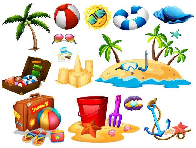 Conjunto de verão com brinquedos e ilha