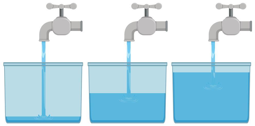 Água da torneira em baldes
