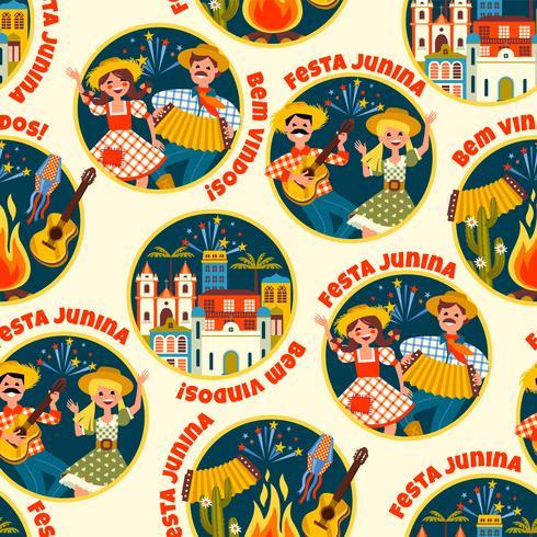 Feriado da América Latina, a festa junina do Brasil. Padrão sem emenda
