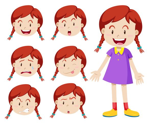 Red hair girl with facial expressions vector