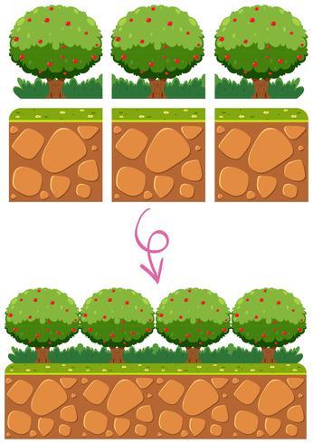 Trädgårdsmallelement för spel