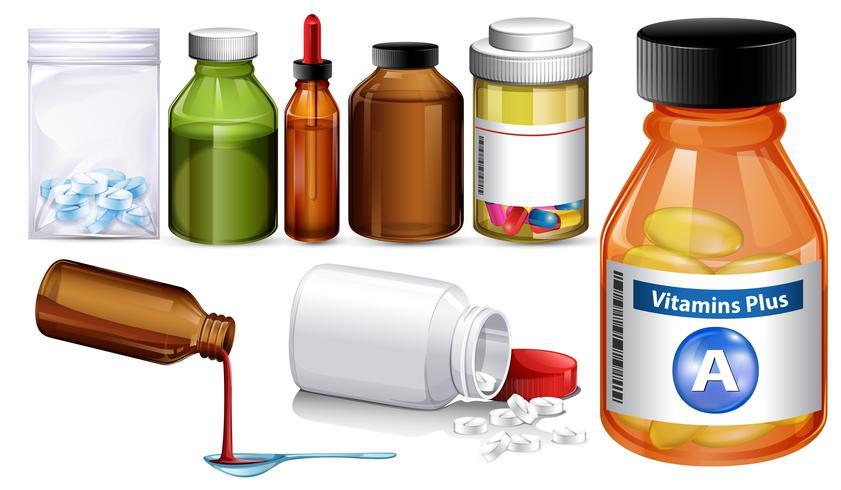 Set di diversi contenitori e pillole di medienza vettore