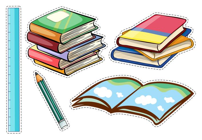 Sticker set with books and stationaries