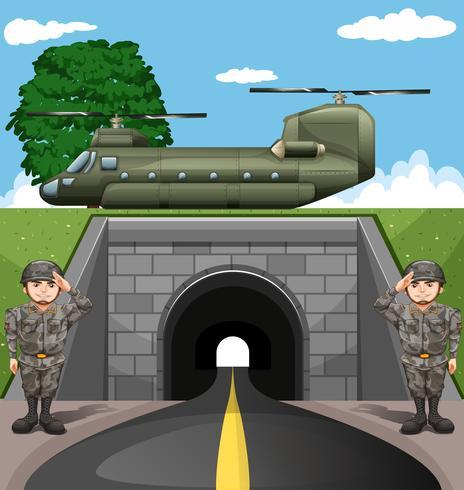 Soldados y aviones de combate.