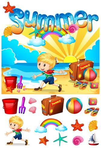 Junge, der Sommer am Strand genießt